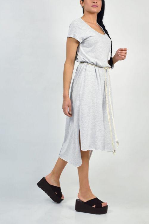 Ασύμμετρο φόρεμα με σκοινί στη μέση-ΓΚΡΙ