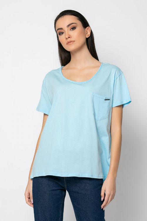 T-shirt με τσεπάκι milan-ΓΑΛΑΖΙΟ