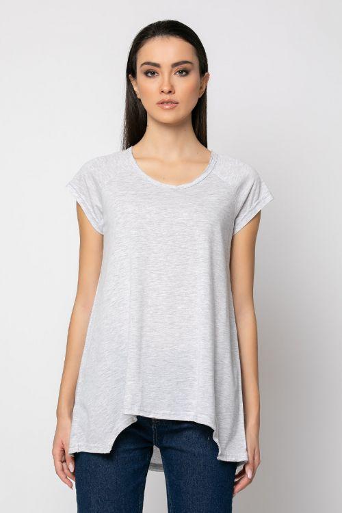 Ασύμμετρο basic t-shirt rome-ΓΚΡΙ ΑΝΟΙΧΤΟ