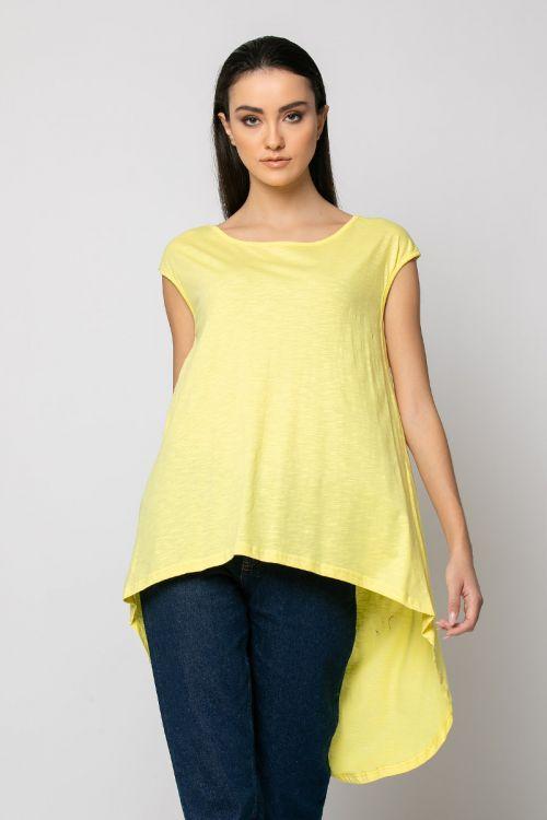 Ασύμμετρη Μπλούζα με άνοιγμα στην πλάτη-ΚΙΤΡΙΝΟ