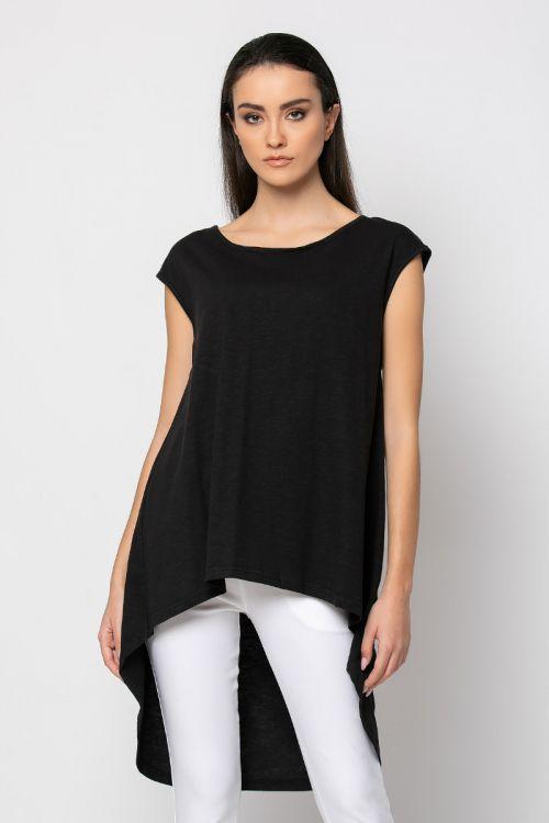 Ασύμμετρη Μπλούζα με άνοιγμα στην πλάτη-ΜΑΥΡΟ