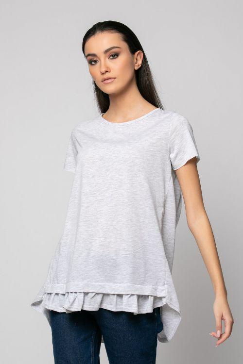Ασύμμετρο t-shirt με σχέδιο μπροστά-ΓΚΡΙ