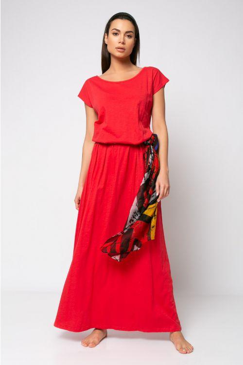 Κοντομάνικο Φόρεμα με ζωνάκι-ΚΟΚΚΙΝΟ