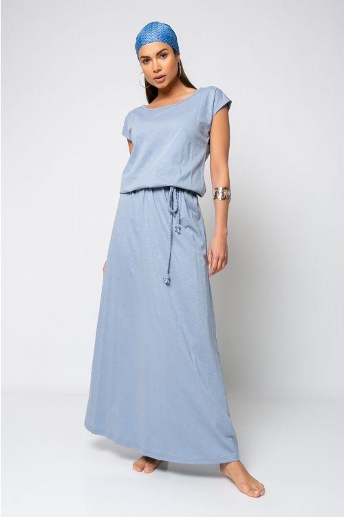 Κοντομάνικο Φόρεμα με ζωνάκι-ΓΑΛΑΖΙΟ