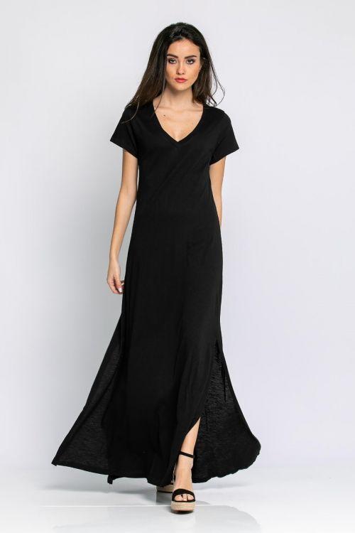 Μάξι φόρεμα με V λαιμόκοψη-ΜΑΥΡΟ