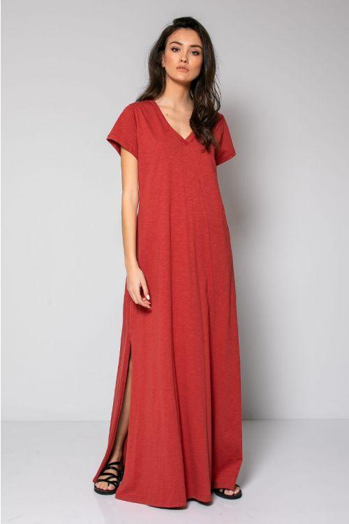 Μάξι φόρεμα με V λαιμόκοψη-ΚΕΡΑΜΙΔΙ