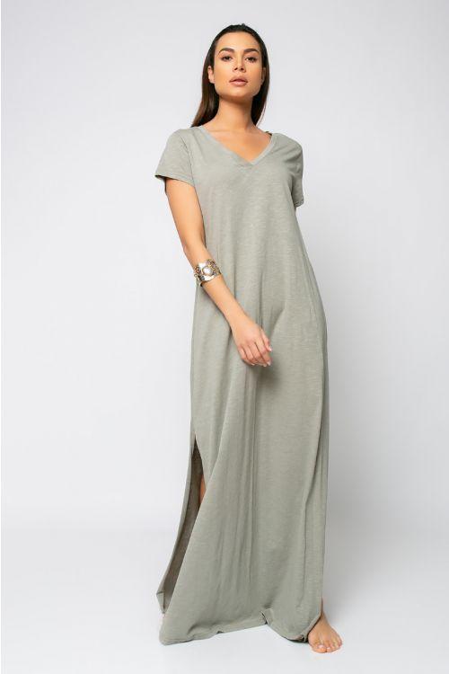 Μάξι φόρεμα με V λαιμόκοψη-ΓΚΡΙ ΤΟΥ ΠΑΓΟΥ