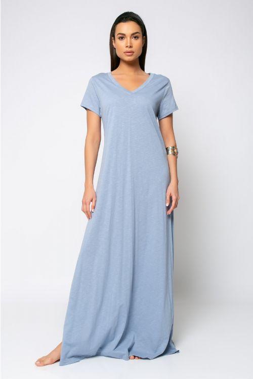 Μάξι φόρεμα με V λαιμόκοψη-ΓΑΛΑΖΙΟ