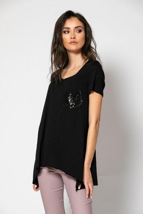 T-shirt με τσεπάκι στρας-ΜΑΥΡΟ