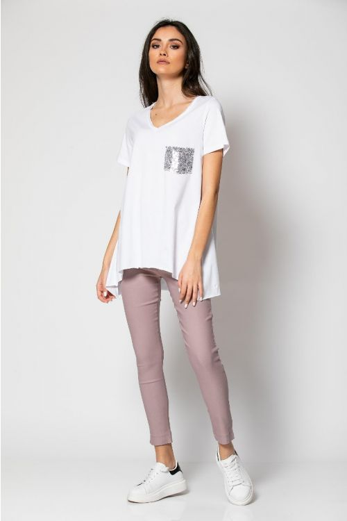 T-shirt με τσεπάκι στρας-ΛΕΥΚΟ
