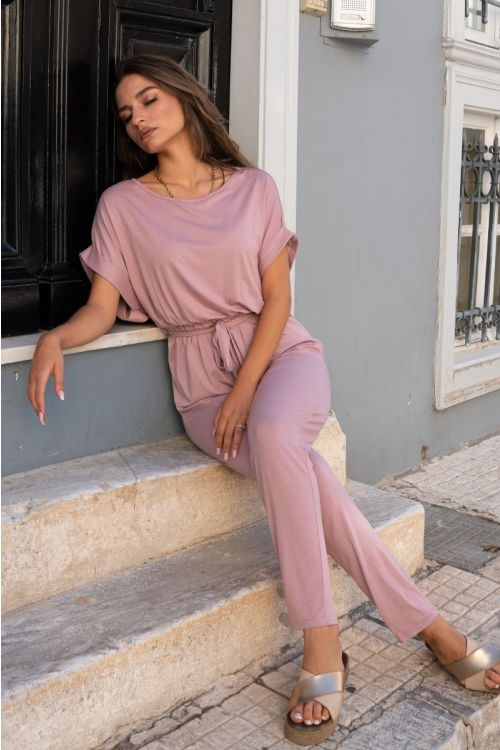 Κοντομάνικη ολόσωμη φόρμα με ζωνάκι-ΣΑΠΙΟ ΜΗΛΟ