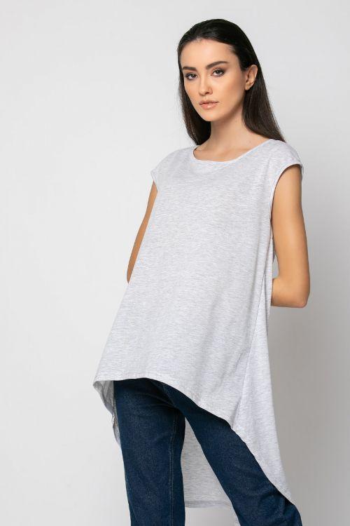 Ασύμμετρη Μπλούζα με άνοιγμα στην πλάτη-ΓΚΡΙ