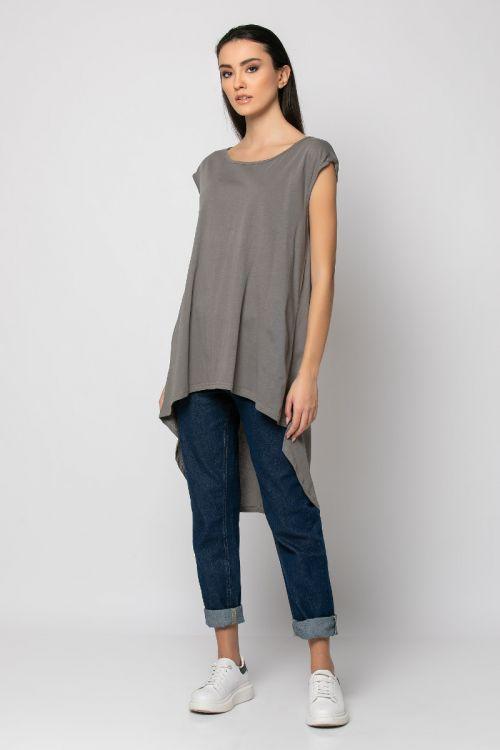 Ασύμμετρη Μπλούζα με άνοιγμα στην πλάτη-ΧΑΚΙ LIGHT