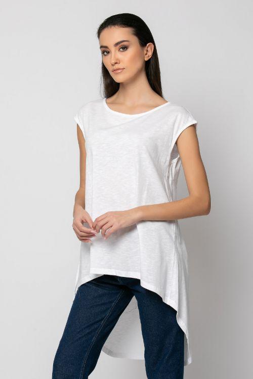 Ασύμμετρη Μπλούζα με άνοιγμα στην πλάτη-ΛΕΥΚΟ
