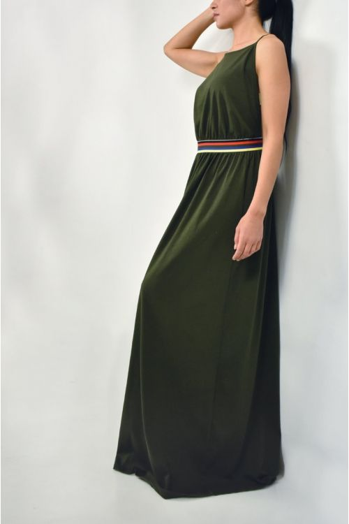 Μάξι φόρεμα με χρωματιστά σχέδια στη μέση-ΧΑΚΙ