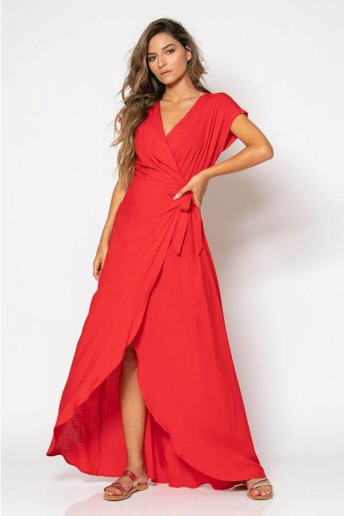 Μάξι κρουαζέ φόρεμα-ΚΟΚΚΙΝΟ