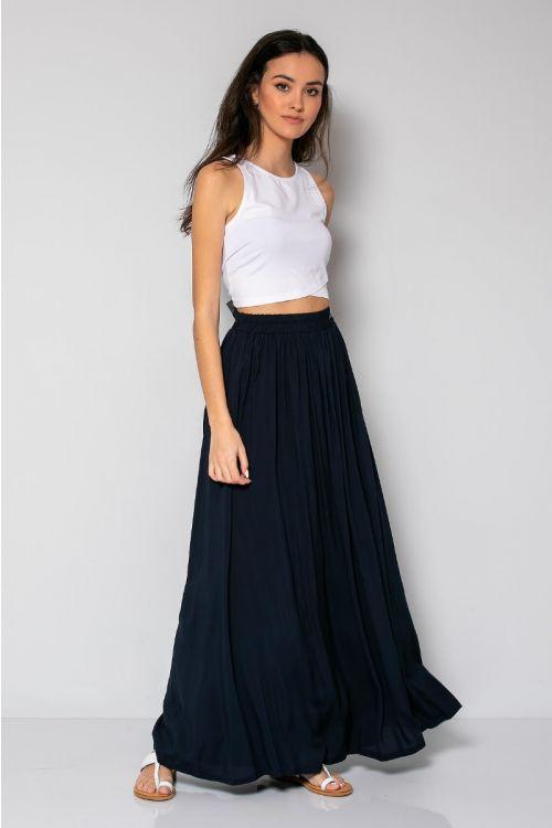 Μάξι φούστα με λάστιχο στη μέση-ΜΠΛΕ NAVY