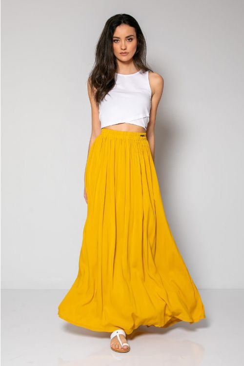 Μάξι φούστα με λάστιχο στη μέση-ΚΙΤΡΙΝΟ