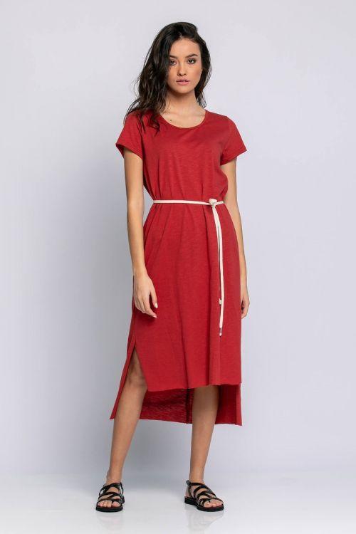 Ασύμμετρο φόρεμα με σκοινί στη μέση-ΚΕΡΑΜΙΔΙ