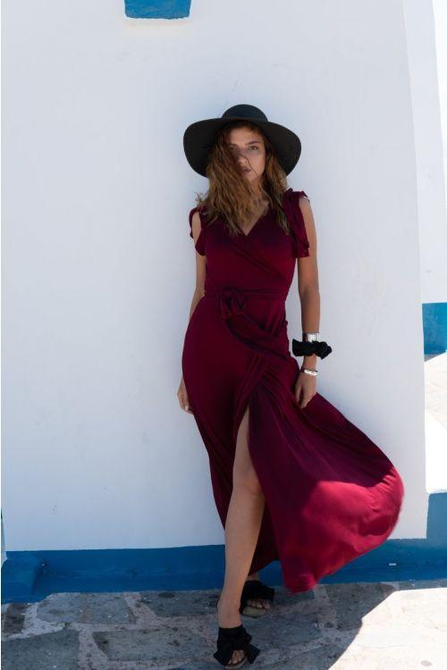 Μάξι φόρεμα με σχέδιο στα μανίκια βισκόζ-ΜΠΟΡΝΤΟ