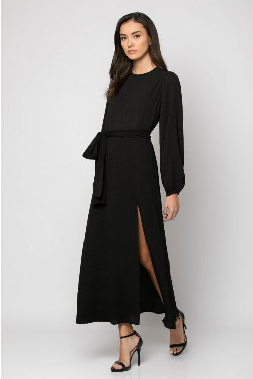 Μάξι φόρεμα με άνοιγμα στο πλάι-ΜΑΥΡΟ