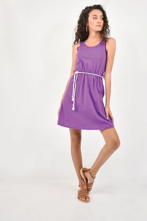 Αμάνικο Φόρεμα με ζωνάκι-ΜΩΒ