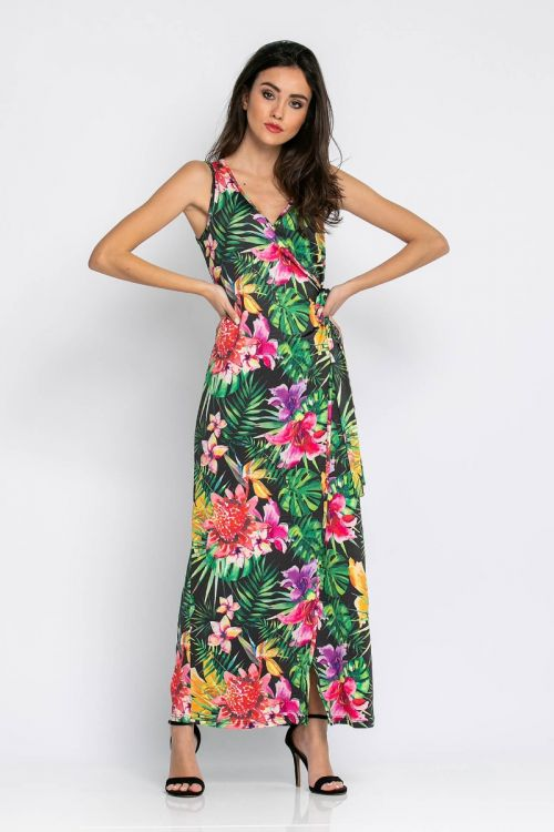 Κρουαζέ φλοράλ μάξι φόρεμα -ΦΛΟΡΑΛ