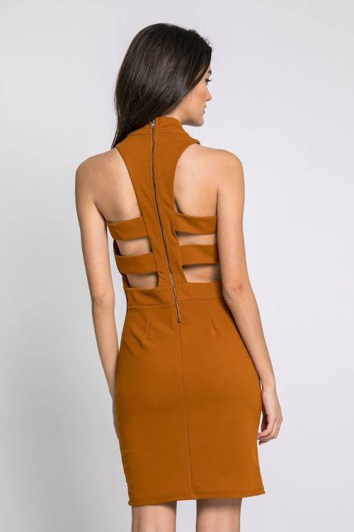 Φόρεμα με άνοιγμα στη πλάτη-ΚΑΜΕΛ