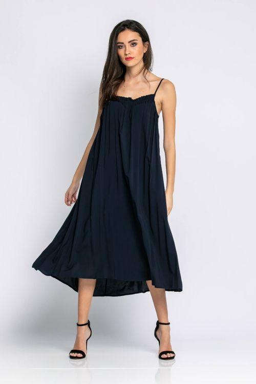 Μίντι φαρδύ φόρεμα ραντάκι-ΜΠΛΕ NAVY