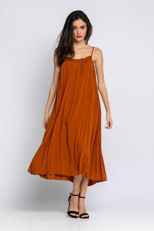 Μίντι φαρδύ φόρεμα ραντάκι-ΚΑΜΕΛ