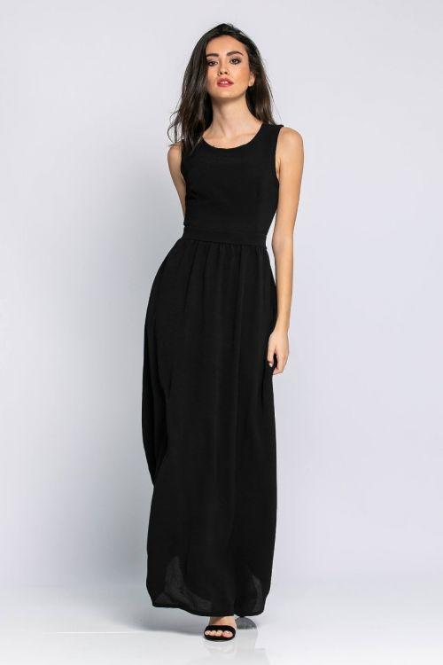 Μάξι φόρεμα με φερμουάρ στη πλάτη-ΜΑΥΡΟ