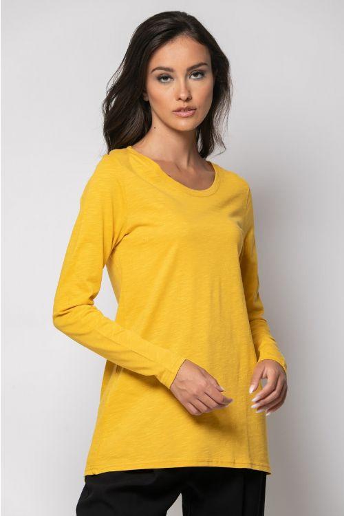 Ασύμμετρη basic μπλούζα-ΚΙΤΡΙΝΟ