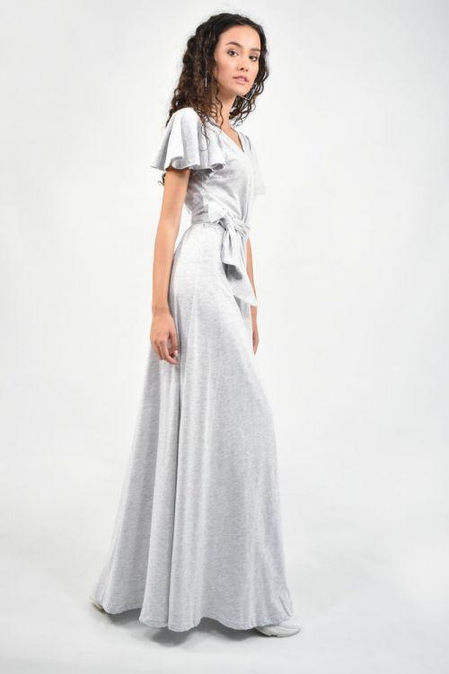 Μάξι φόρεμα με σχέδιο στα μανίκια-ΓΚΡΙ ΑΝΟΙΧΤΟ