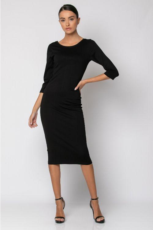 Φόρεμα με χαμηλή πλάτη-ΜΑΥΡΟ