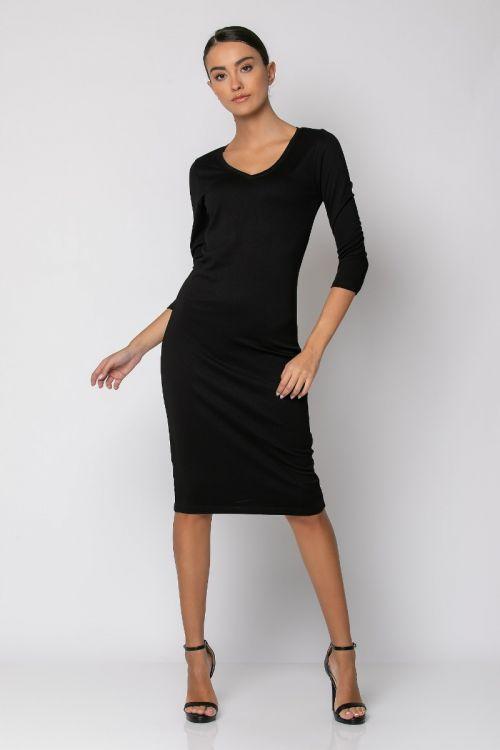 Φόρεμα μίντι με V λαιμόκοψη-ΜΑΥΡΟ