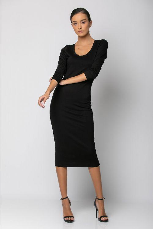 Μίντι κολλητό φόρεμα-ΜΑΥΡΟ