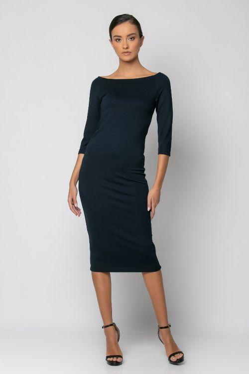 Φόρεμα ανοιχτή λαιμόκοψη μέχρι τους ώμους-ΜΠΛΕ NAVY