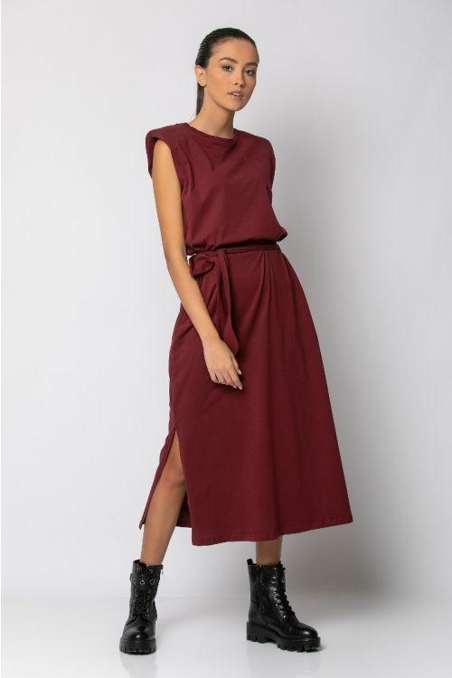 Μίντι φόρεμα με βάτες-ΜΠΟΡΝΤΟ