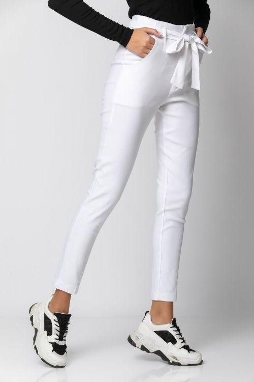 Παντελόνι ελαστικό με ζωνάκι-ΛΕΥΚΟ