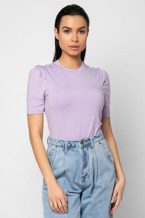 Τ-shirt με πιέτα στους ώμους-ΛΙΛΑ