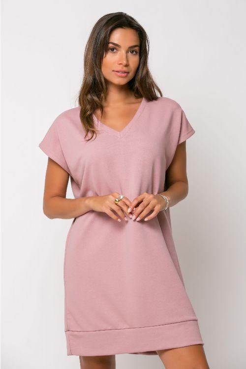 Φόρεμα φούτερ με V λαιμόκοψη-ΣΑΠΙΟ ΜΗΛΟ