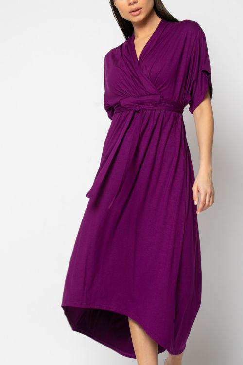 Φόρεμα midi κρουαζέ με σούρα στο στήθος-ΜΩΒ