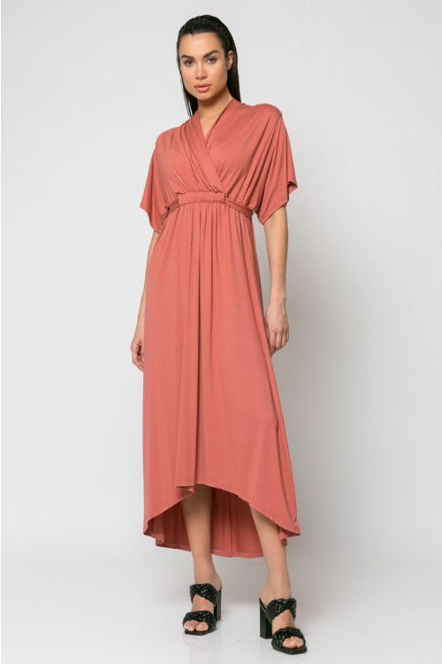 Φόρεμα midi κρουαζέ με σούρα στο στήθος-ΣΑΠΙΟ ΜΗΛΟ