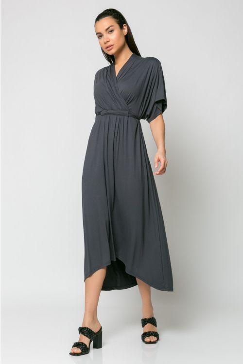 Φόρεμα midi κρουαζέ με σούρα στο στήθος-ΑΝΘΡΑΚΙ