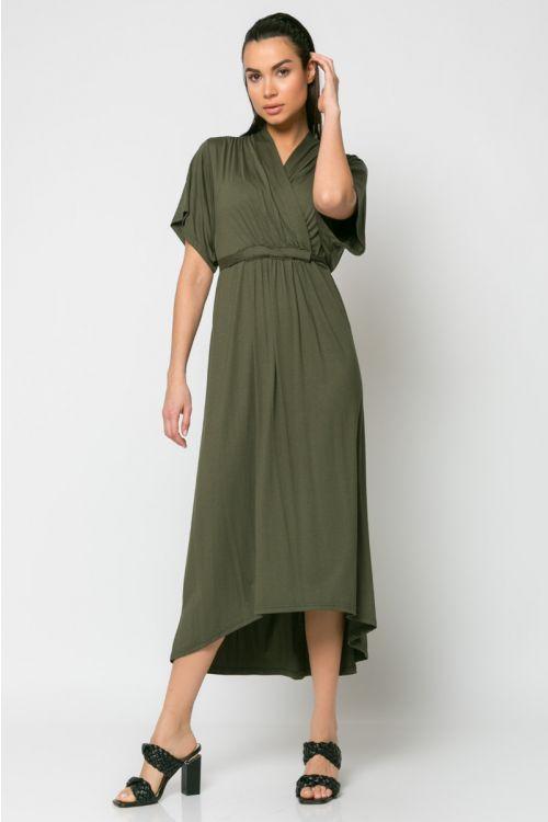 Φόρεμα midi κρουαζέ με σούρα στο στήθος-ΧΑΚΙ