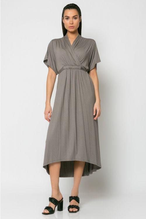Φόρεμα midi κρουαζέ με σούρα στο στήθος-ΕΛΕΦΑΝΤ