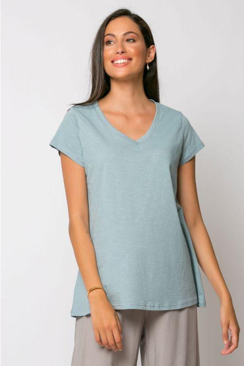 T-shirt με V λαιμό-ΣΙΕΛ