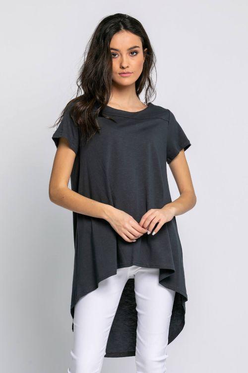 Ασύμμετρο t-shirt-ΑΝΘΡΑΚΙ