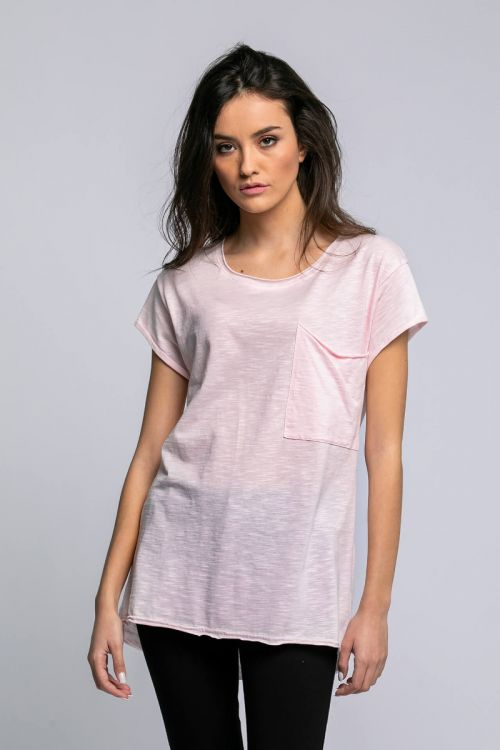 T-shirt με τσεπάκι αριστερά-ΡΟΖ