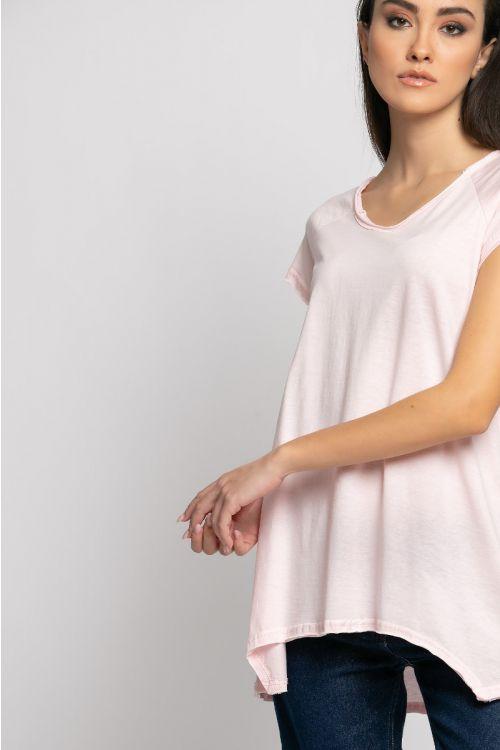 Ασύμμετρο basic t-shirt rome-ΡΟΖ ΑΝΟΙΧΤΟ